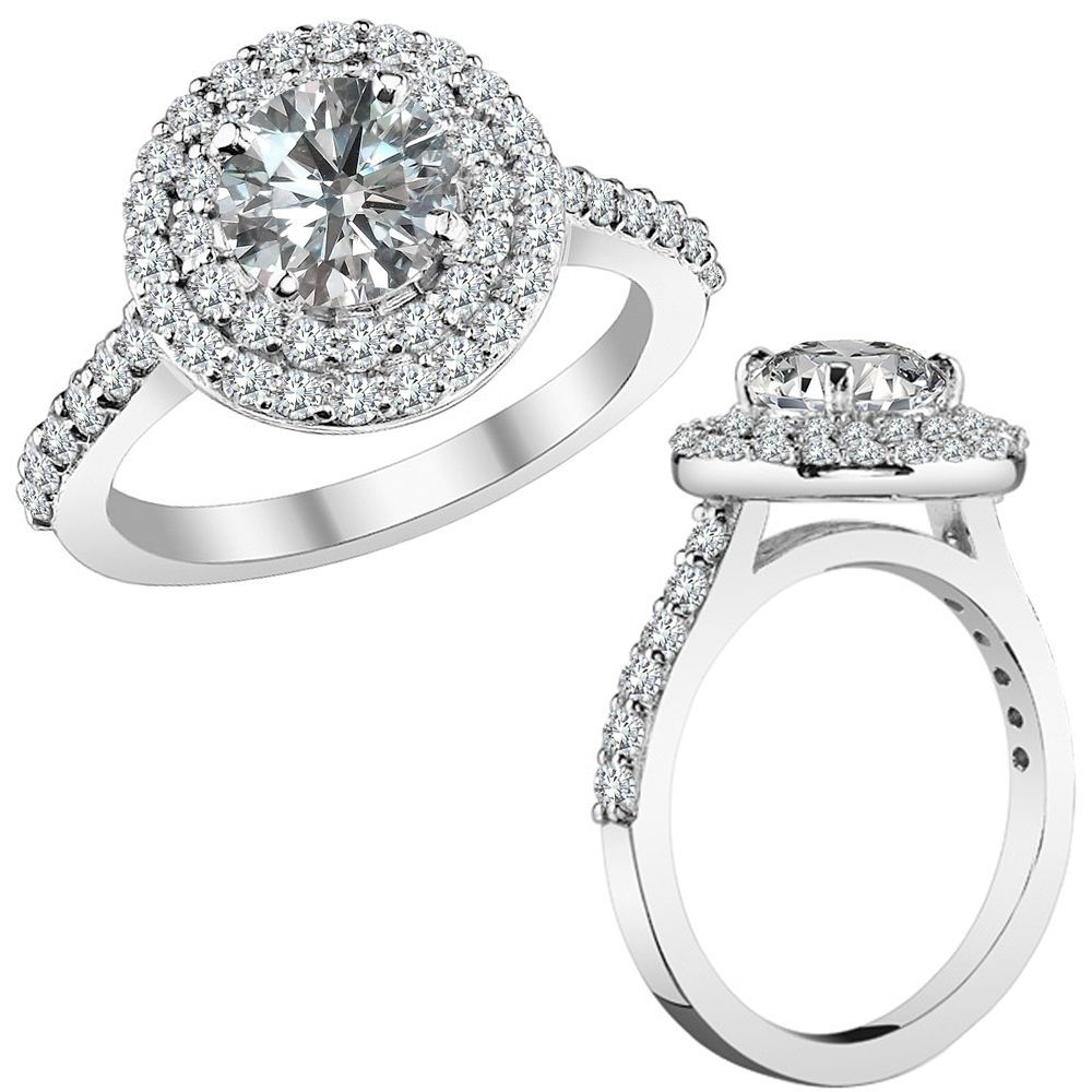 2 Carat G-H Round Diamond Double Halo Solitaire Wedding Ring 14K White Gold #Jascina #DoubleHaloRing