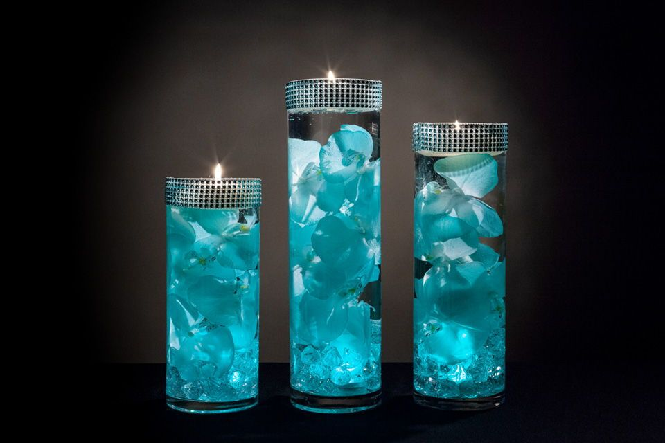 Teal Floral Centerpieces With Led Lights And Floating Candles Wedding Centerpieces Diy