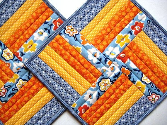 """Quilted Patchwork Mug Rugs, Placemats, Snack Mats, Sunny Blue, Yellow and Orange, 10""""x10"""""""