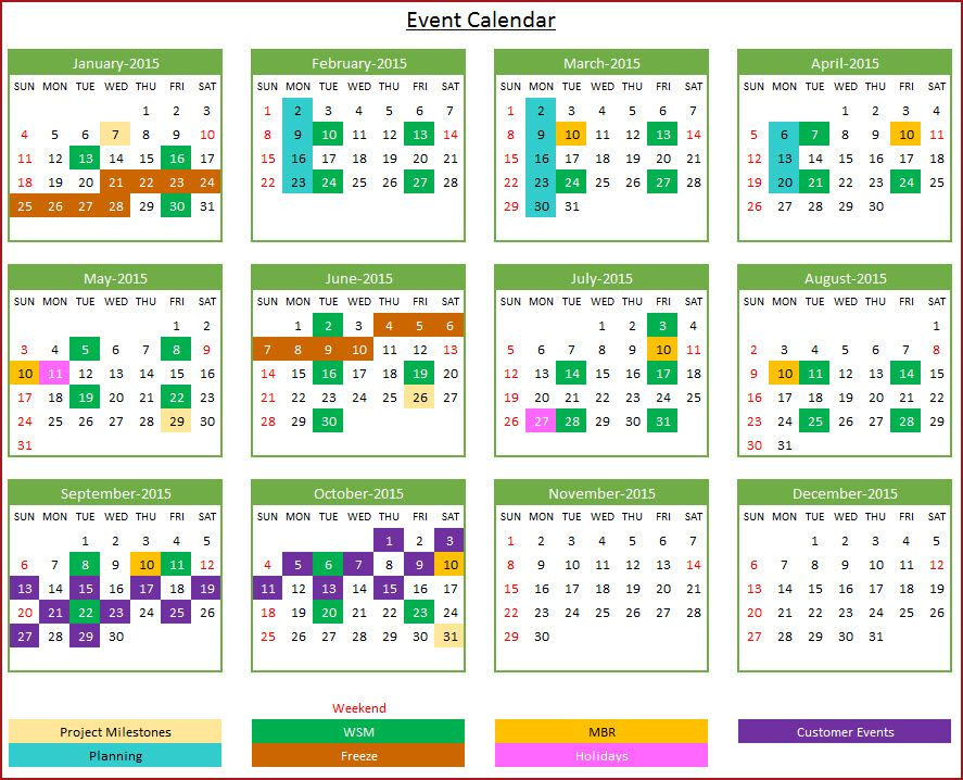 Event Calendar Maker  Excel Template  Yearly Design  Event
