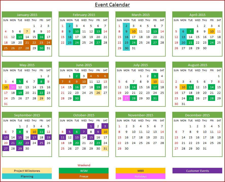 Event Calendar Maker - Excel Template - Yearly Design Event - event calendar