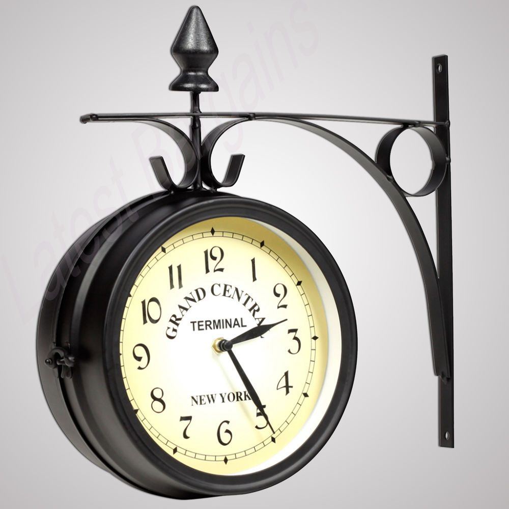 New Wall Clock Railway Train Station Style 2 Sided Wall Mount Home Decor Gift Wall Clock Train Station Clock Clock Decor