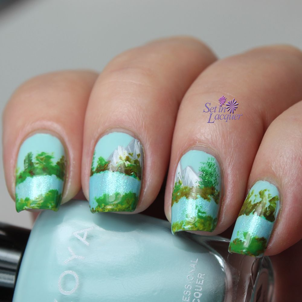 Mountain Landscape Nail Art Digital Dozen Day Five Set In Lacquer