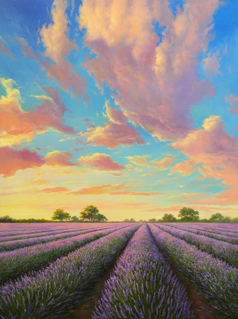 25+ Oil painting original,Lavender fields painting,Provence lavender,Paintings on canvas original,Lavender,Gifts for her,Lavender painting