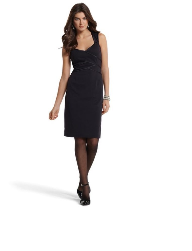 White House Black Market Sz 6 Banded Sheath Sexy Little Black Dress