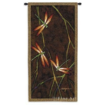 27x53 OCTOBER SONG II Dragonfly Nature Tapestry Wall Hanging