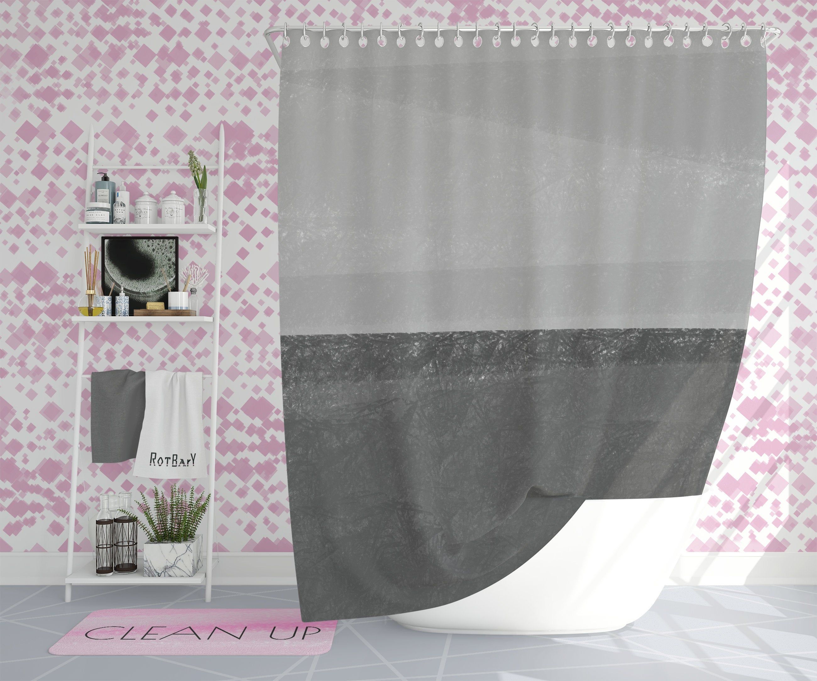 Black Gray Shower Curtain Elegant And Minimalist Designed