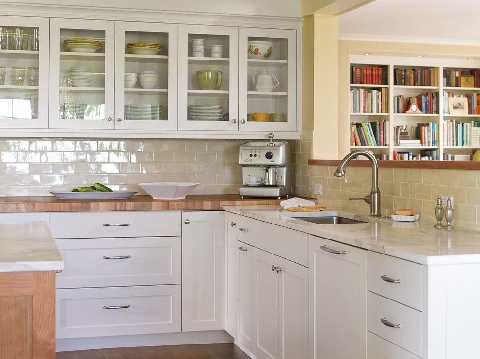 Butcher Block Peninsula Kitchen Traditional With