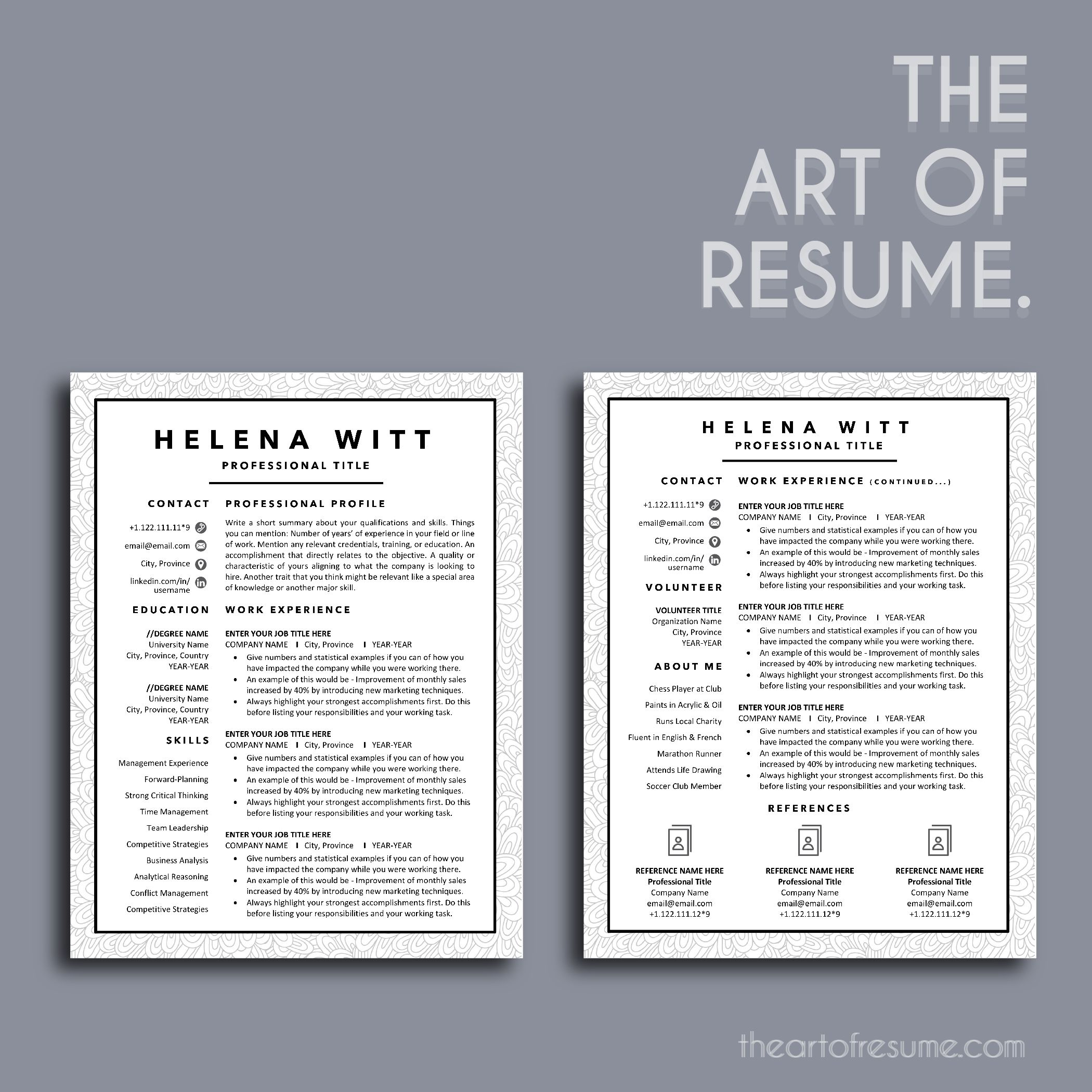 Creative Resume Template Word Pages Simple Resume Design