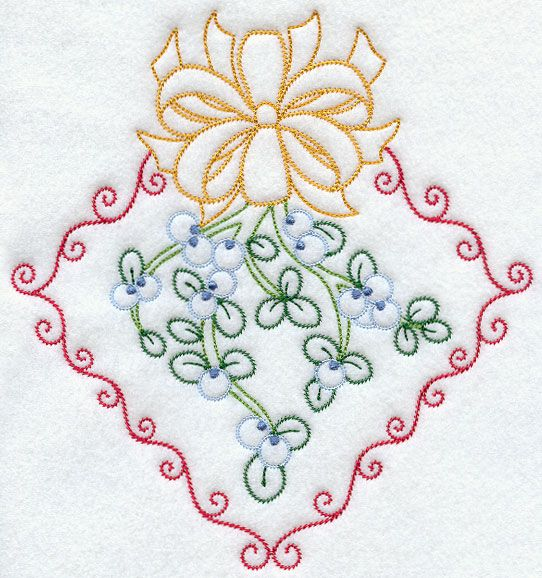 Vintage Mistletoe and Ribbon | Embroidery Pattern | Pinterest ...