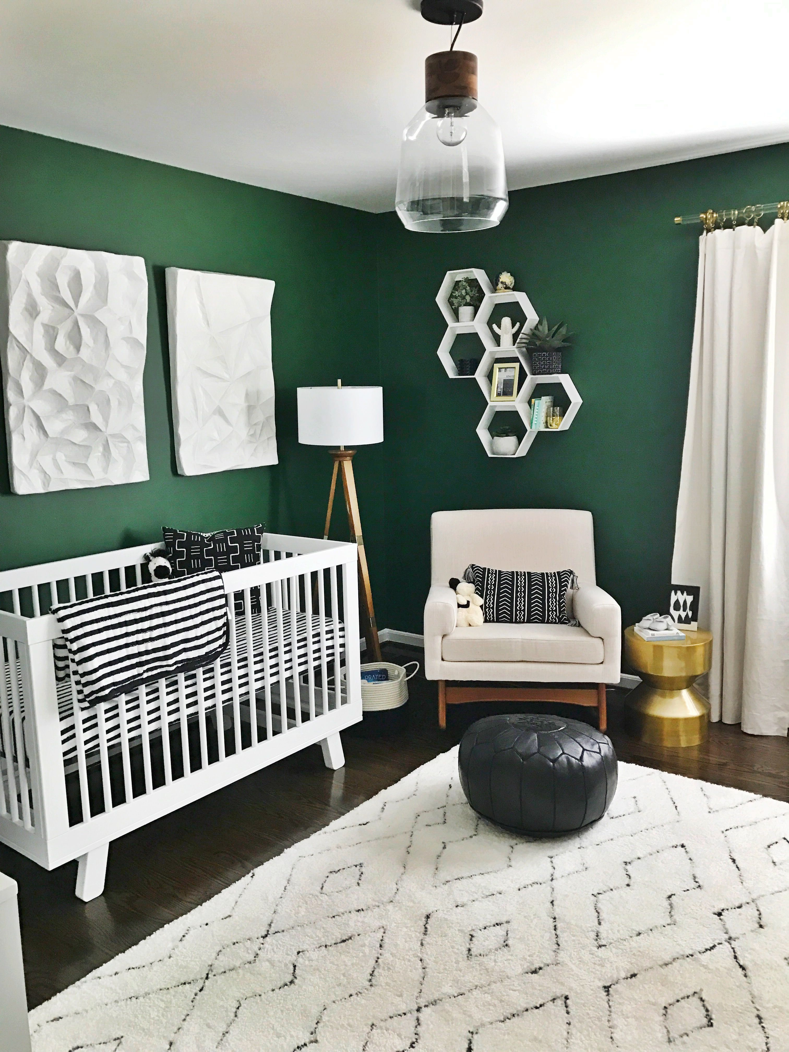 A Green Nursery With Modern Black And White Accents Nursery Baby Room Baby Boy Rooms Green Bedroom Paint