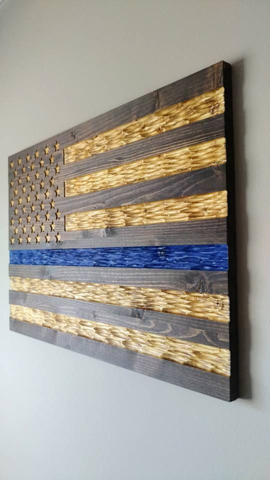 Chisel Texture Carved Thin Blue Line American Flag