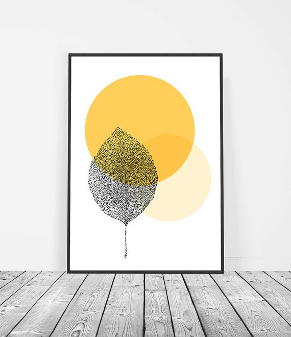 Yellow Scandinavian Poster Leaf Print by Little Ink Empire on Etsy ...