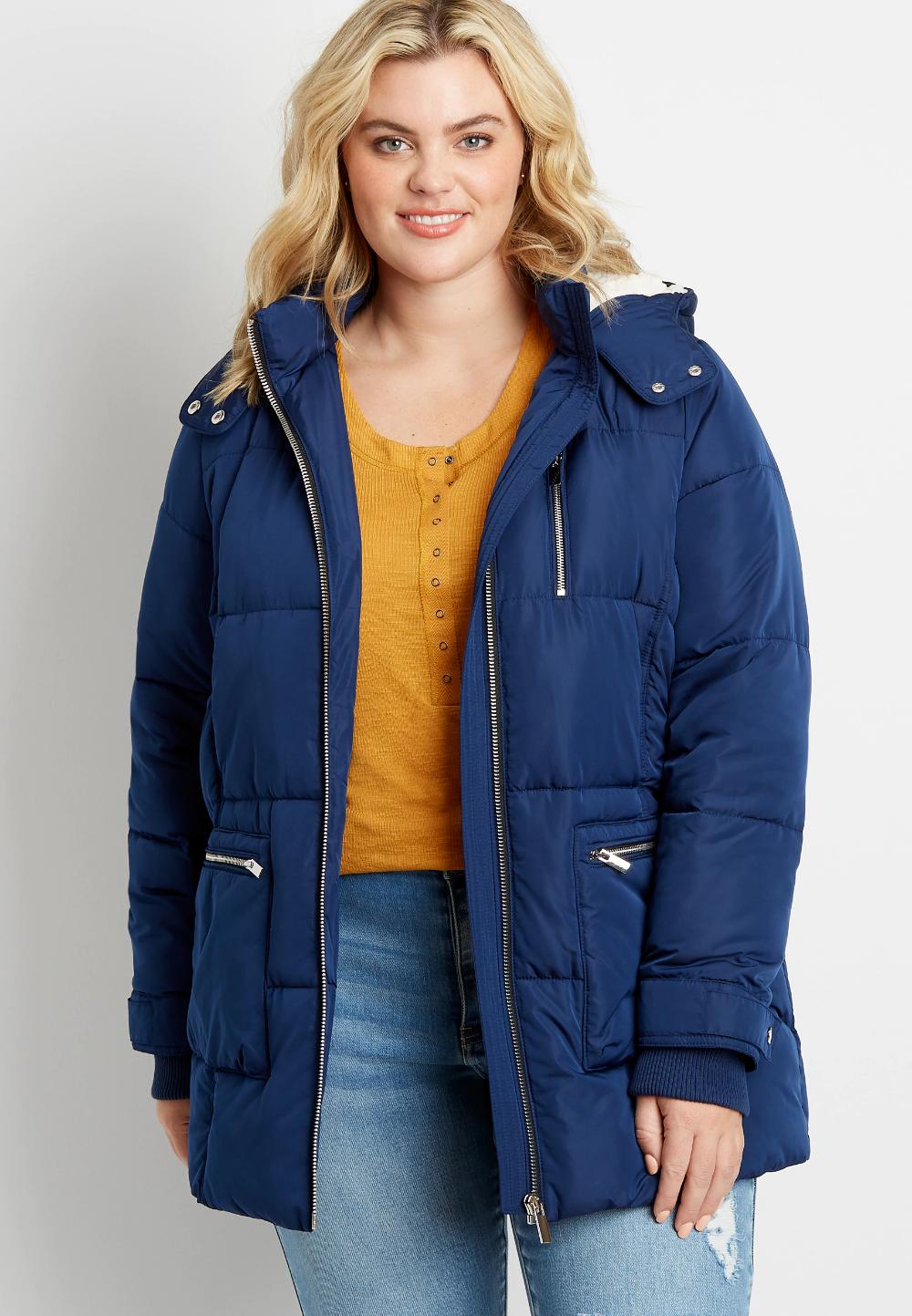 Plus Size Blue Sherpa Lined Hooded Puffer Outerwear Jacket Outerwear Jackets Outerwear Sherpa Lined [ 1443 x 1000 Pixel ]