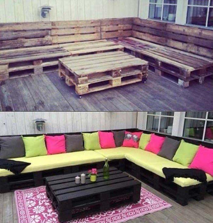 salon de jardin en palette design ide meubles en bois palettes fabriquer canap extrieur construire table basse peindre noir poncer exemple bricolage tuto