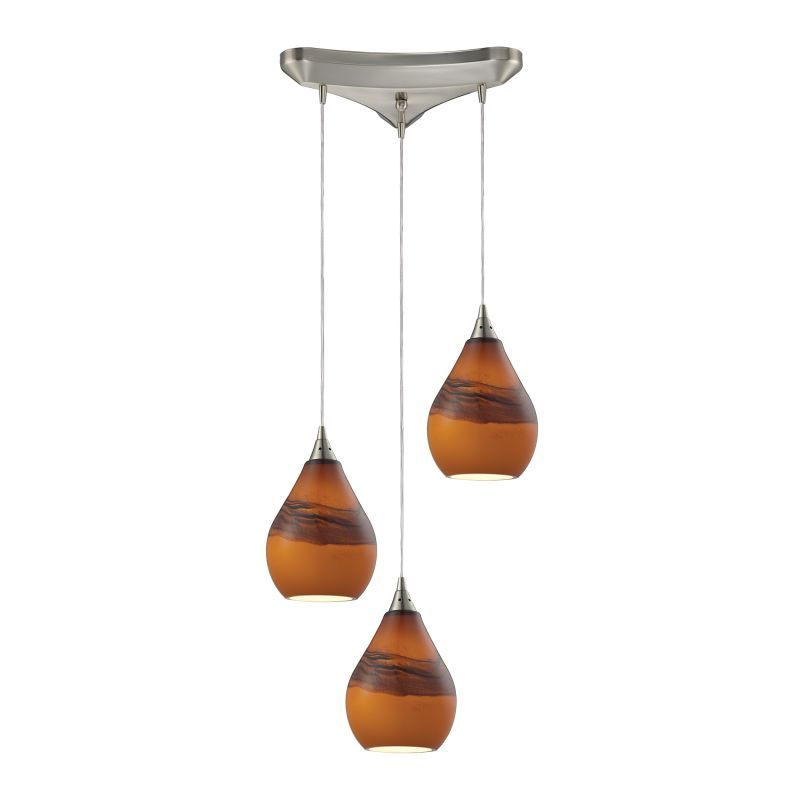 Elk Lighting 31617/3 Satin Nickel Dunes 3 Light 10 Wide Multi Light Pendant with Triangle Canopy and Shadow Glass Shades