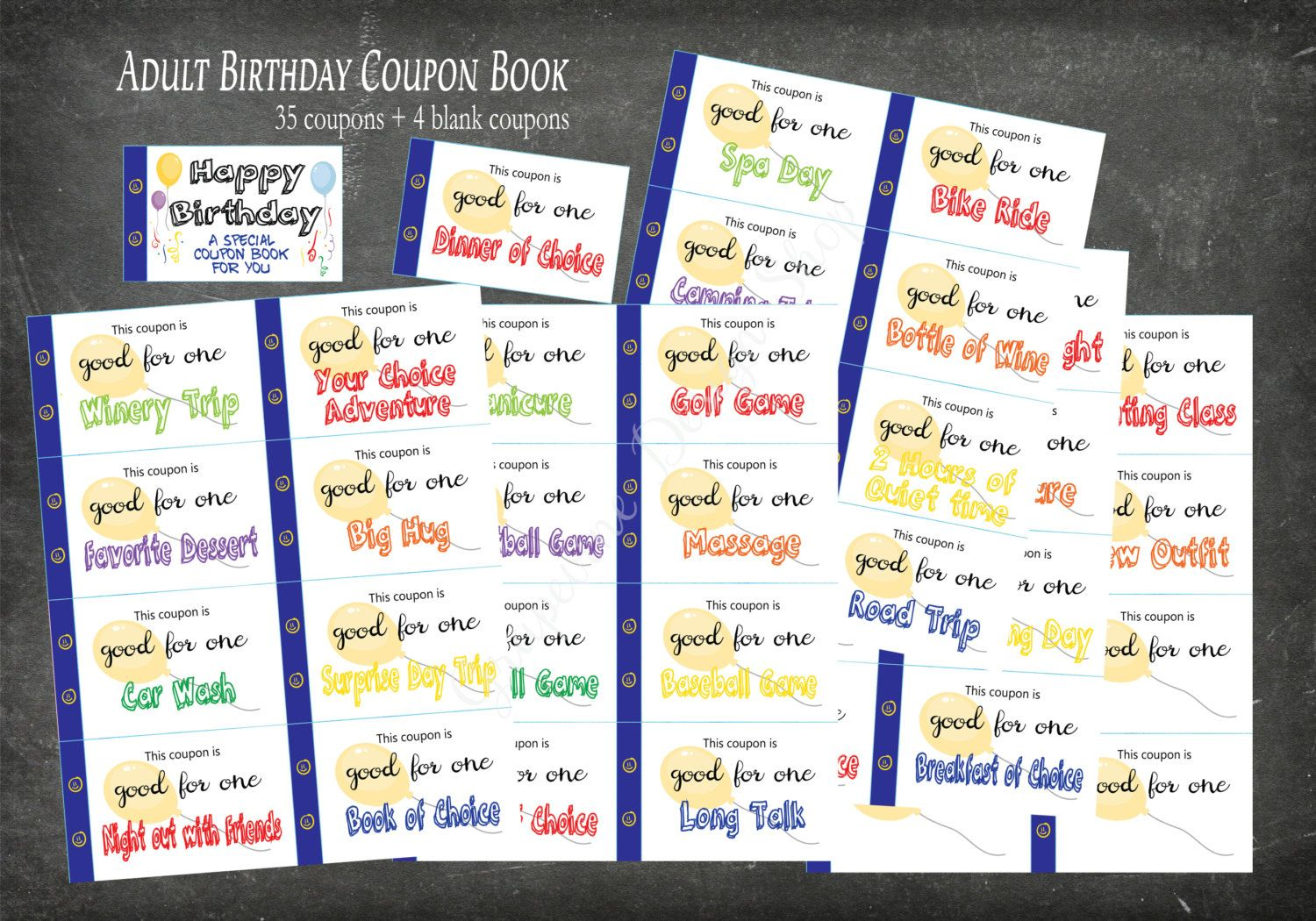 Birthday coupon book for Adults. 35 coupons + 4 blank. Adult ...
