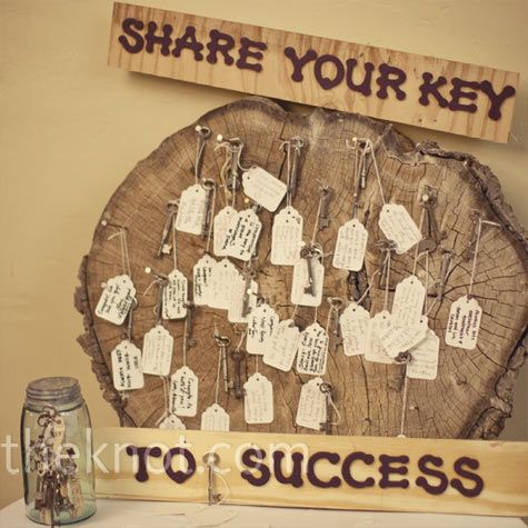Hanging Tag Guest Book Guests Shared Their Keys To A Happy Marriage Which They Wrote On Tags Attached Skeleton And Hung This Piece Of Wood