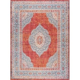 Alise Rugs Harrison Traditional Medallion Area Rug Red Dining