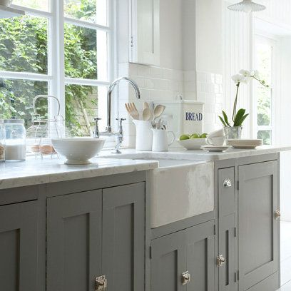 Grey simple kitchen, stone worktop and Belfast sink. Really like ...