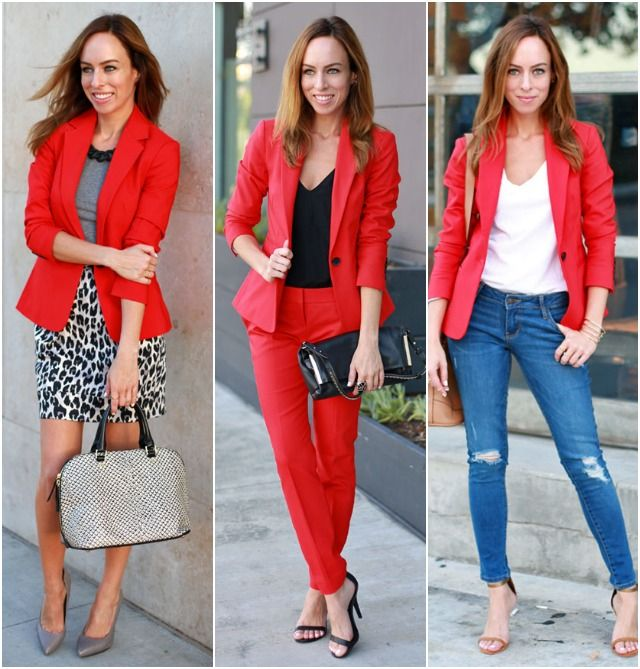 what to wear with red blazer