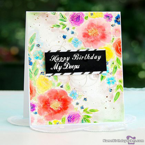 The Name My Deepu Is Generated On Beautiful Flowers Happy Birthday