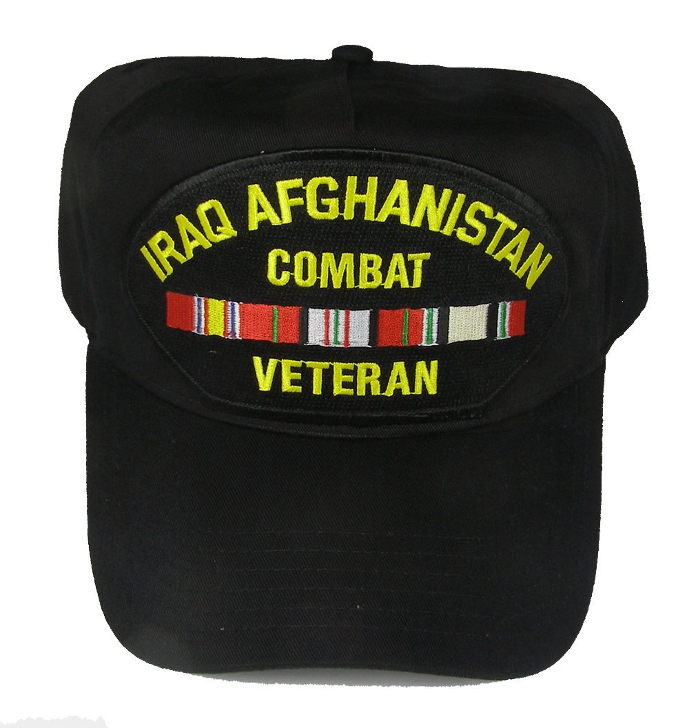 IRAQ AFGHANISTAN COMBAT VETERAN WITH RIBBONS HAT IRAQ