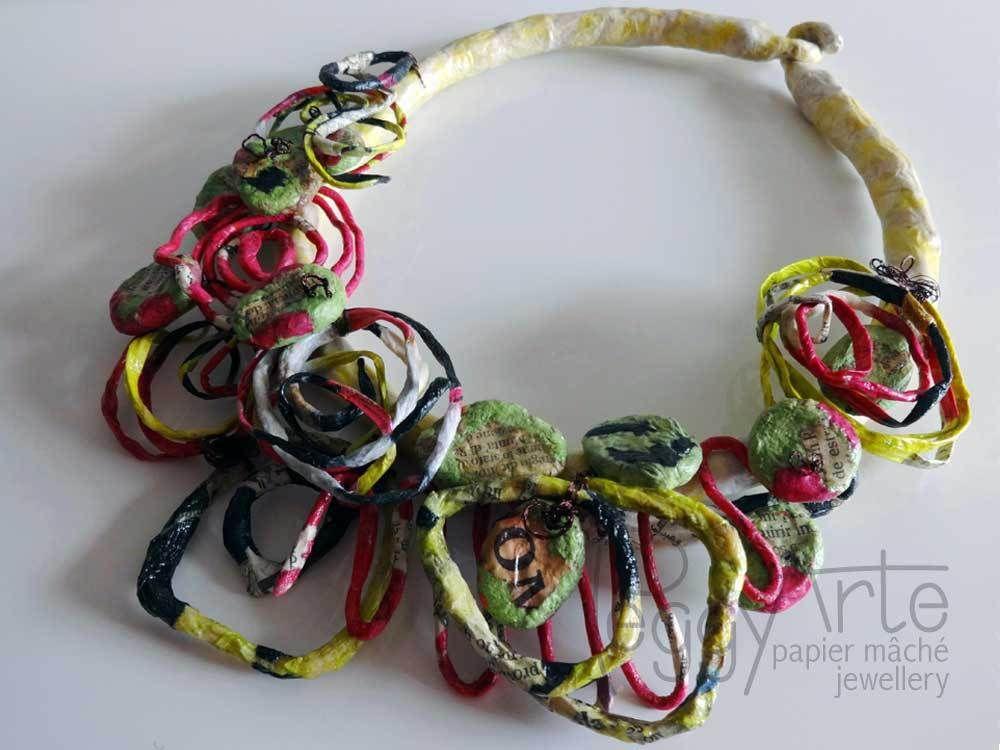 Paper Mache Jewelry By Peggy Arte From Italy Collana Cartapesta Giapponese Collane Cartapesta Lavoro