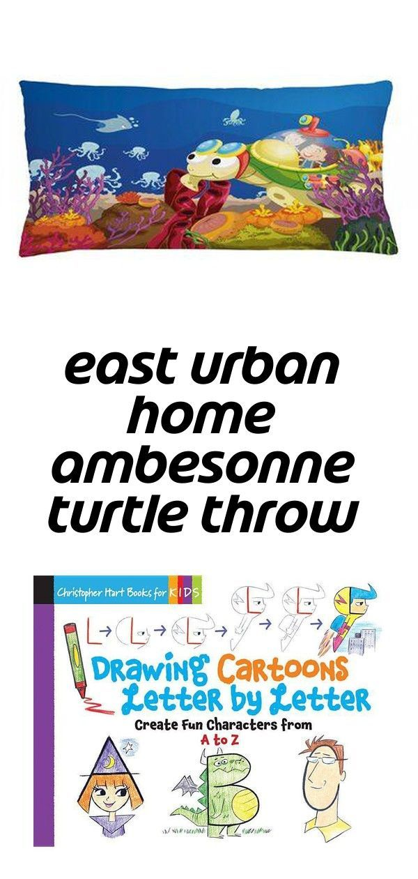 East urban home ambesonne turtle throw pillow cushion cover, funny cartoon character carrying...
