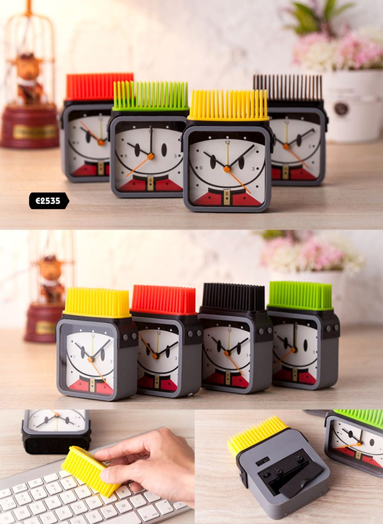 Funny Multifunctional Desktop Clock with Brush Buyerparty
