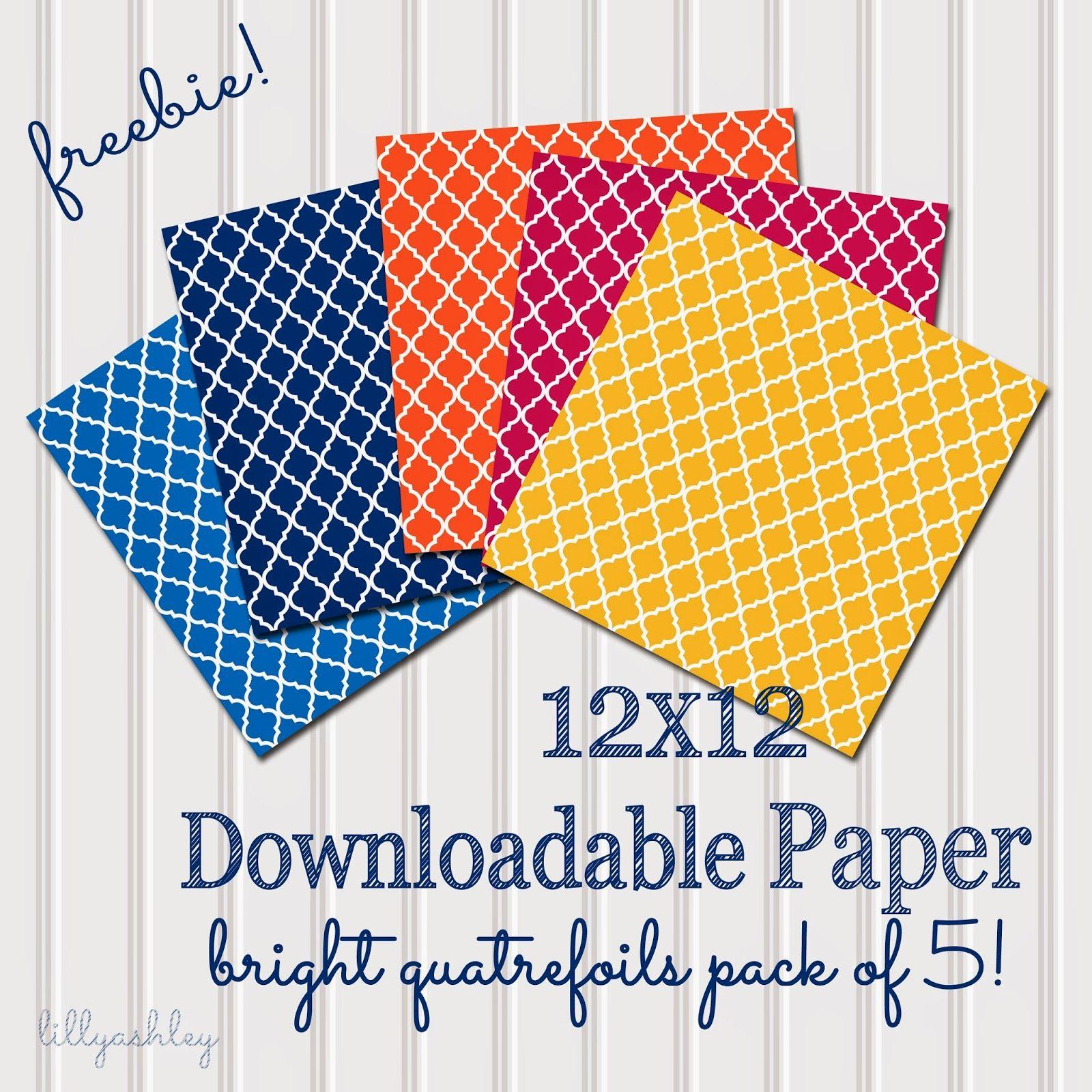 Friday Freebie...Bright Quatrefoils Downloadable Paper