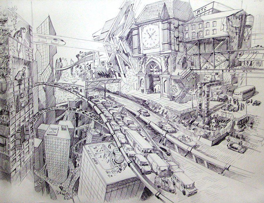 Future City By Andy Kandy Cityscape Drawing City Drawing Futuristic City