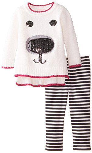 370d1f8adf07 Little Lass Baby Girls 2 Piece Fuzzy Sweater Set Stripe Fuchsia 12 ...