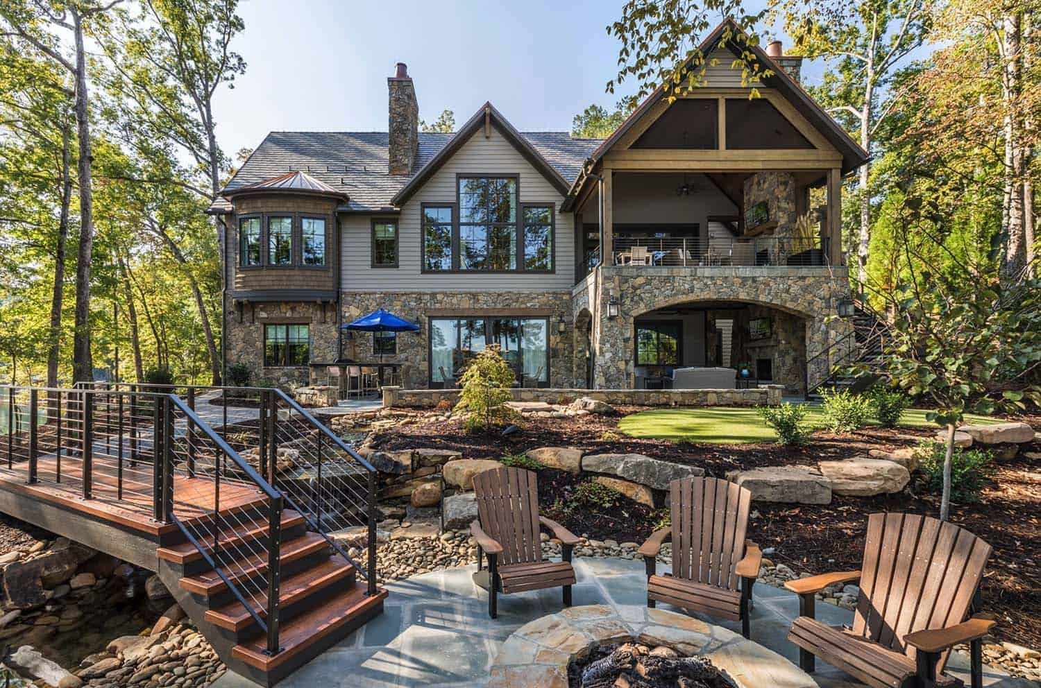 Beautiful rustic home surrounded by a tranquil setting on Lake Keowee #beautifulhomes