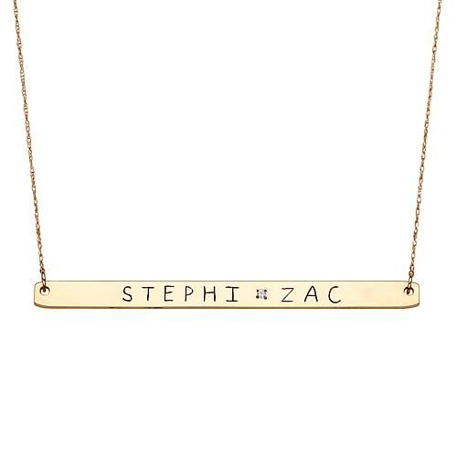 Mbm 10k Gold Engraved Diamond Accented Bar 20 Necklace Gold Engraving 10k Gold Name Necklace
