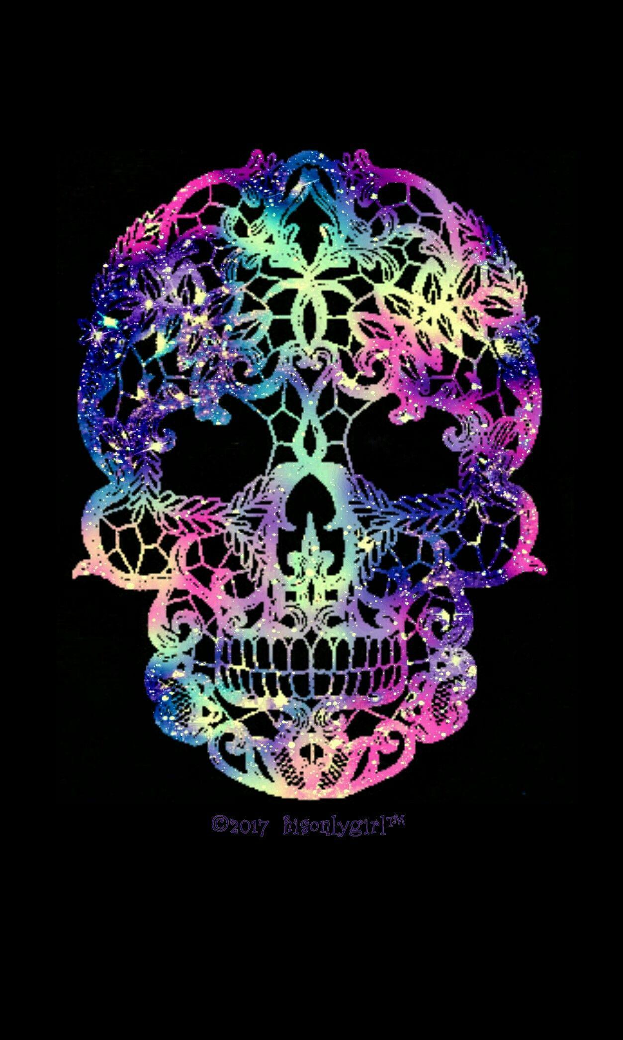 Girly Skull Galaxy Wallpaper I Created For The App Cocoppa Skull Wallpaper Pink Skull Wallpaper Skull Artwork