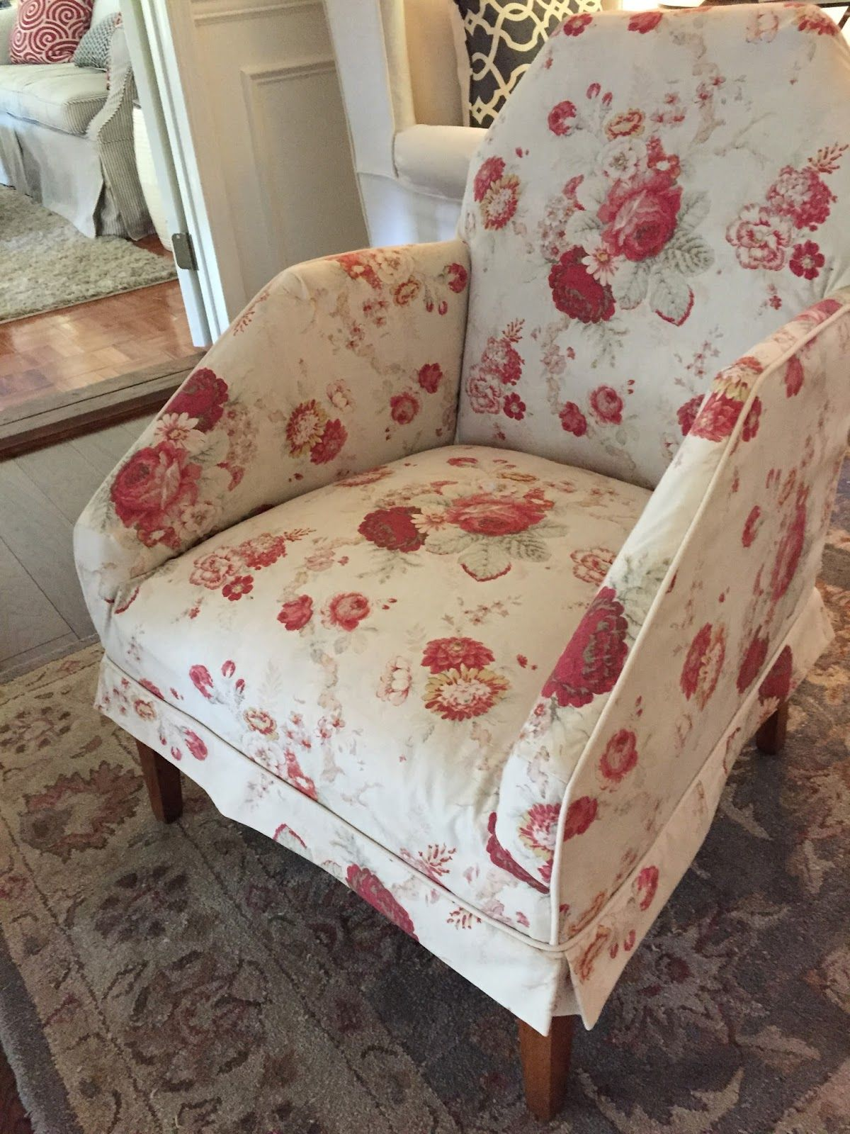 A Thrift Store Chair Slipcovered In Vintage Waverly Fabric.