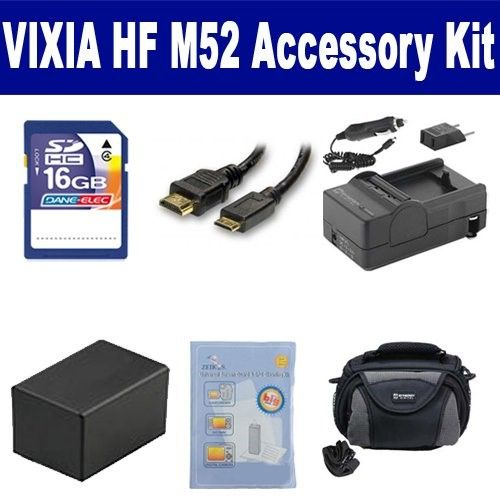 Canon Vixia HF M52 Camcorder Accessory Kit includes: Zelcksg Care & Cleaning, SDC-26 Case, HDMI3FM AV & Hdmi Cable, SDM-1556 Charger, ACD786 Battery, SD4/16GB Memory Card
