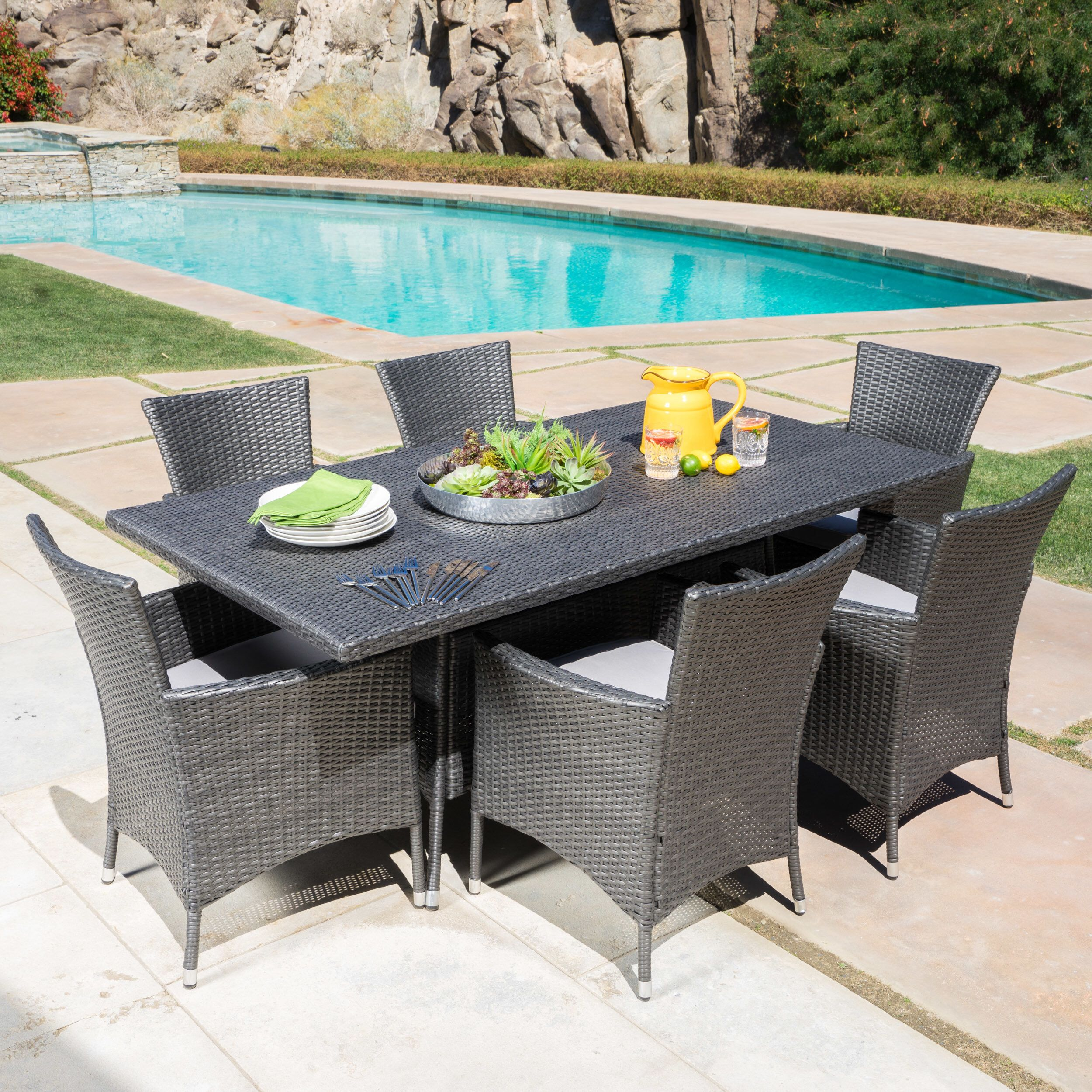 Bondy 7 Piece Dining Set With Cushions Wicker Dining Set Outdoor Table Settings Backyard Furniture