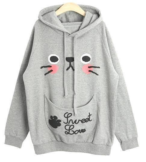 Cute Cat Ears, Kitten Face Hoodie Sweatshirt/Pullover, Girls Don't ...
