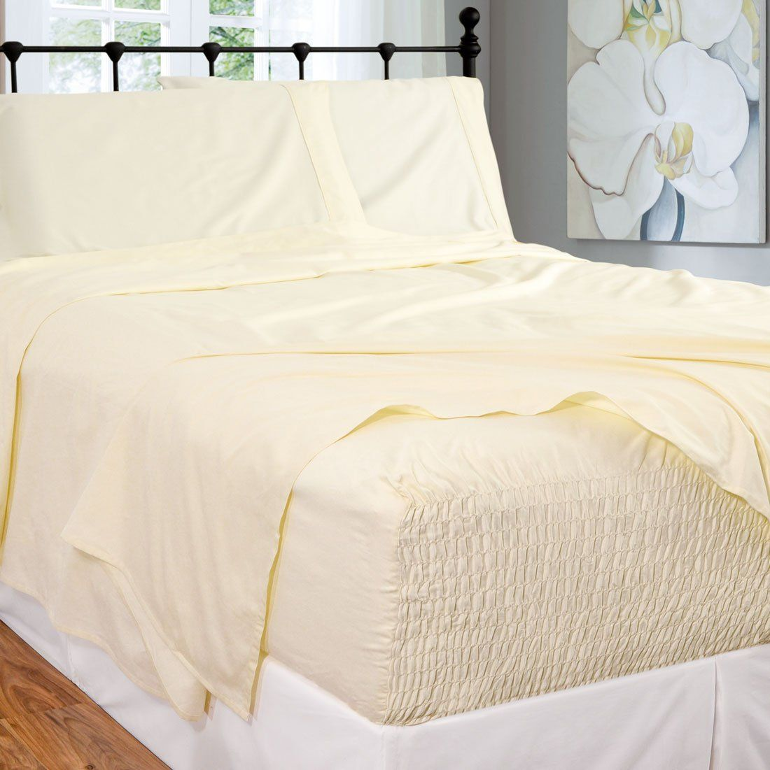 Bed Tite Stretch Fit 300 Thread Count 100 Percent Cotton Ultra Luxurious Deep Pocket Sheet Set Queen Ivory For Mor In 2020 Bed Sheet Sets Full Deep Pocket Sheets