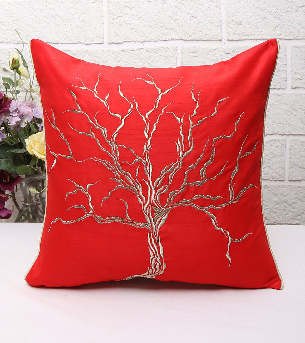 Red embroidered poly dupion cushion coverudans apparels indian