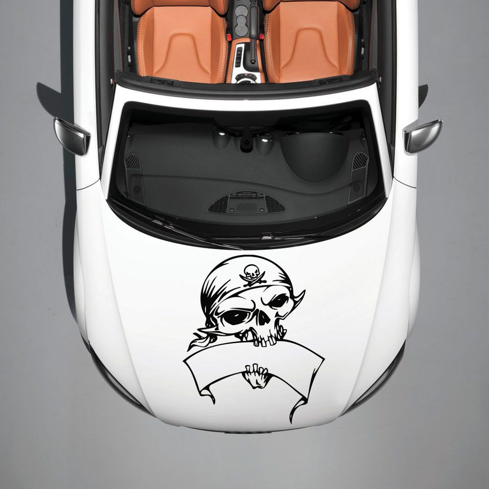 Skull Pirate With Bandana Ribbon Hood Car Vinyl Sticker Decals - Custom vinyl decals for car hoodsfull color graphic vinyl sticker decal skull ghost fit car hood