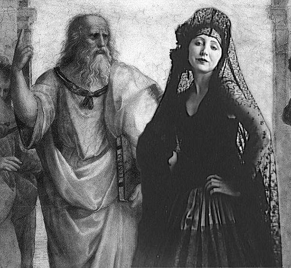 Anais Nin and Leonardo da Vinci as Plato (Stanze di Rafael Santi, Vatican City)