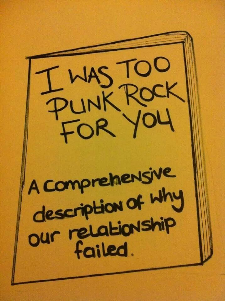 I Was Too Punk Rock For You: A comprehensive description of why our relationship failed.