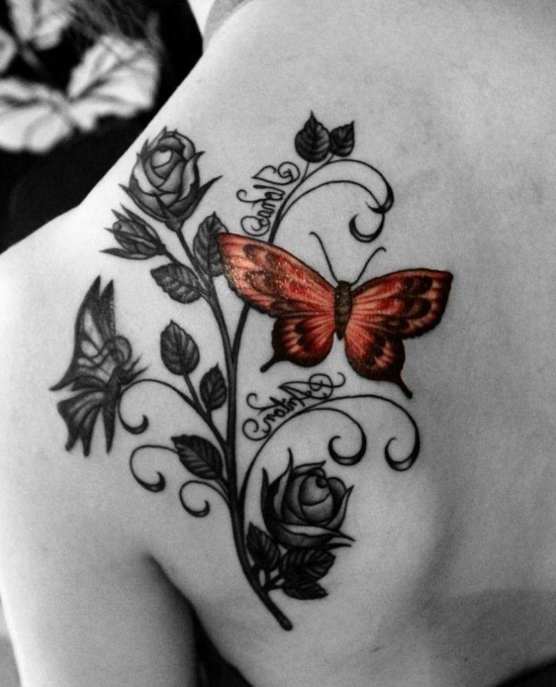 schmetterling tattoo rose namen originelles design. Black Bedroom Furniture Sets. Home Design Ideas