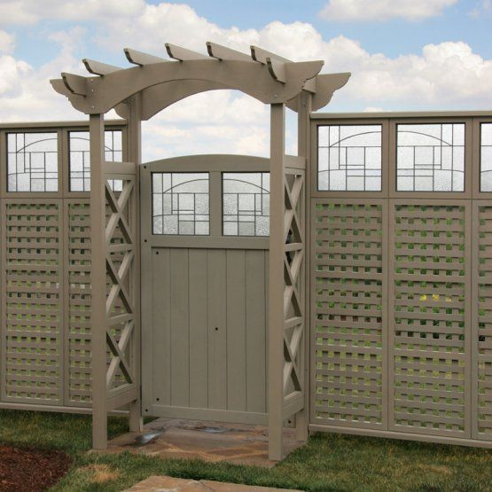 Exterior Grade Plywood Home Depot: Yardistry Faux Glass Gate - Grey