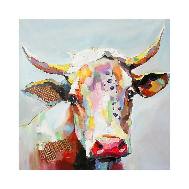 Betsy The Cow Canvas Art Print 50x50 Cow Canvas Large Canvas