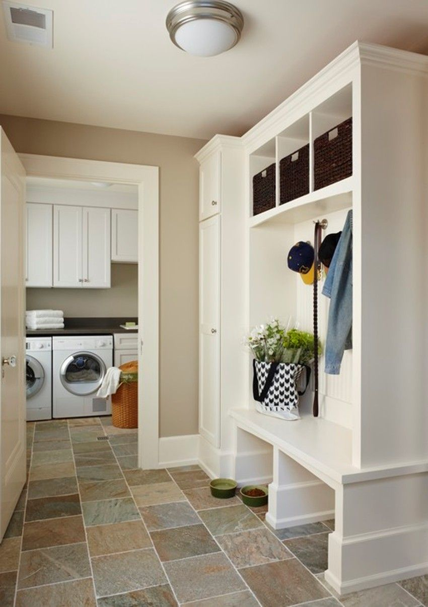 Best Idea Cool Mudroom Ideas Paired With Tiles Flooring Also Sophisticated White Washing Machines Mud Room Plans For Dirty Clothes