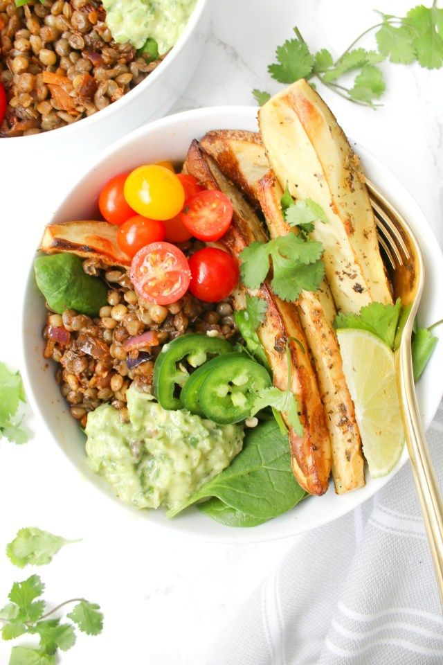 Chipotle Lentil Potato Bowls With Creamy Dreamy Green Sauce